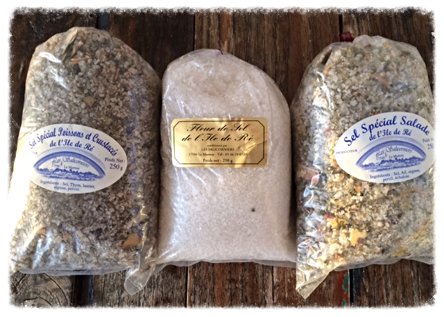 Fleur de Sel and 2 types of Sel Fou from the Ile de Re,