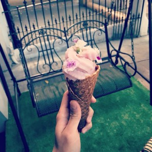 Rosé and white chocolate ice cream...